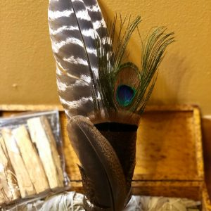 feather smudge wand with amber crystal