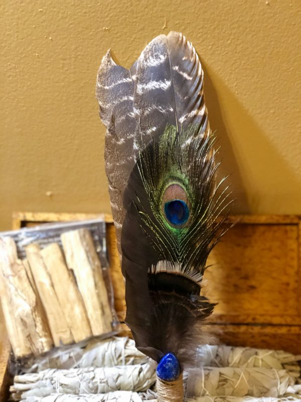 Feather Smudge Wand with lapis lazuli crystal