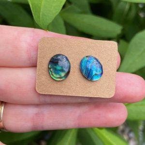 Iridescent Abalone Shell Stud Earrings
